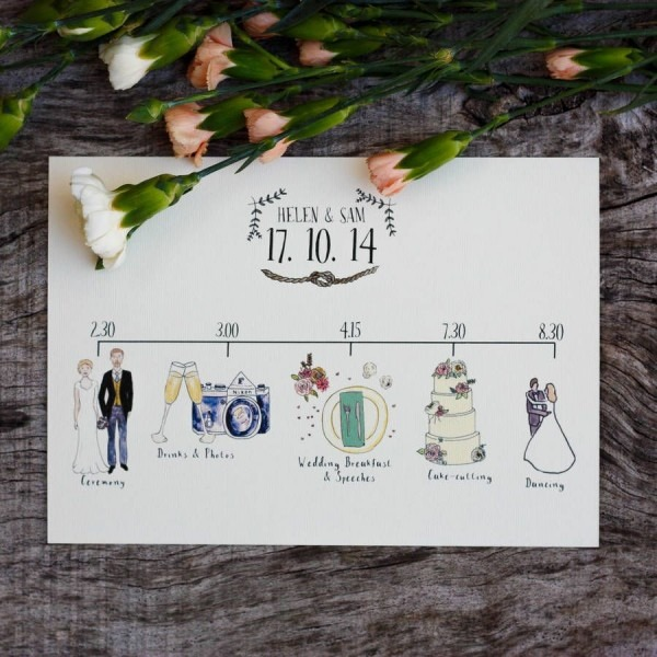 Bespoke Illustrated Wedding Schedule By Rebecca Mcmillan