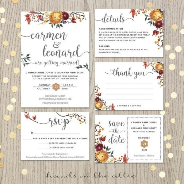 Fall Wedding Invitation Set, Floral Wedding, Autumn Flowers