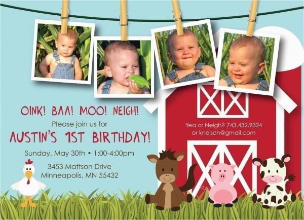 Farm 1st Birthday Invitations Farm Friends First Birthday Custom