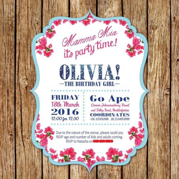 Mamma Mia Birthday Invitation