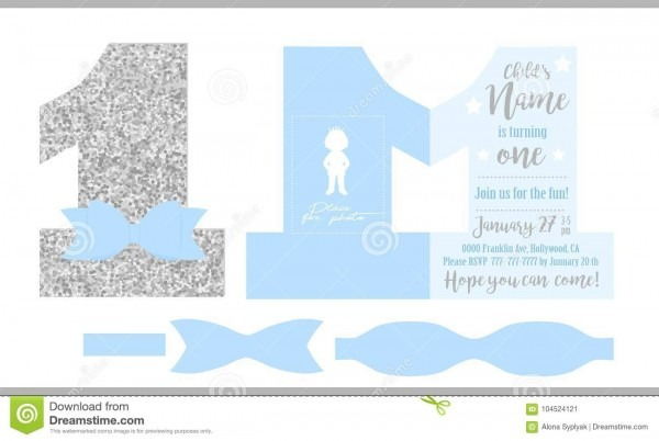 First Birthday Boy`s Party  Printable Invitation Card For Little