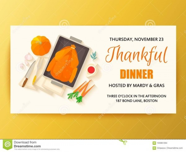 Flat Design Invitation Card For Thanksgiving Dinner  Stock Vector