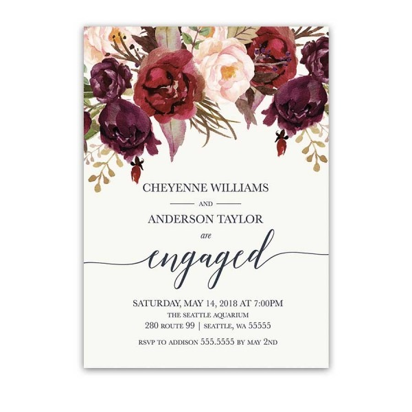 Flower Watercolor Themed Engagement Celebration Invite Card