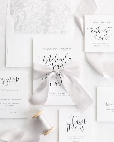 Flowing Calligraphy Ribbon Wedding Invitations