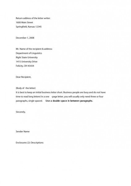 35 Formal   Business Letter Format Templates & Examples ᐅ