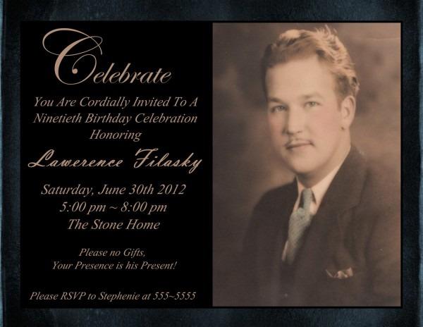 Free 90th Birthday Invitations — Birthday Invitation Examples