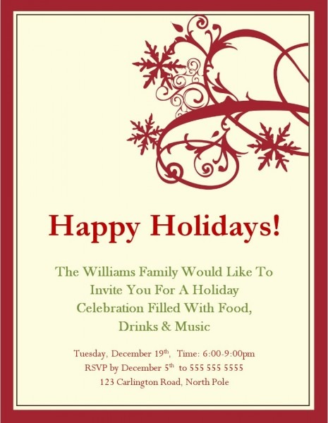 Free Holiday Party Invitations Beautiful Free Word Holiday