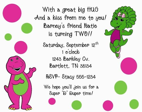Free Personalized Barney Birthday Invitations