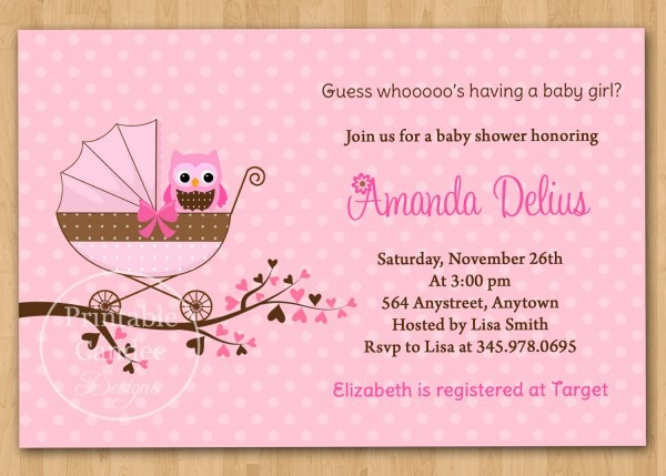 Free Printable Baby Shower Invitations For Girls Free Shower Anti Slip