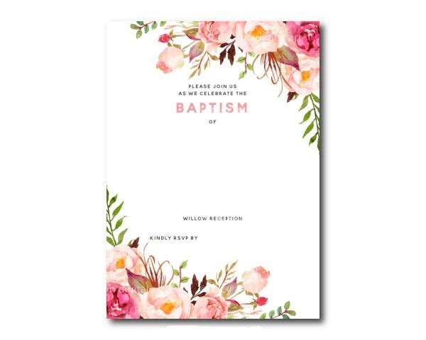 Free Printable Baptism Floral Invitation Template Best Flower