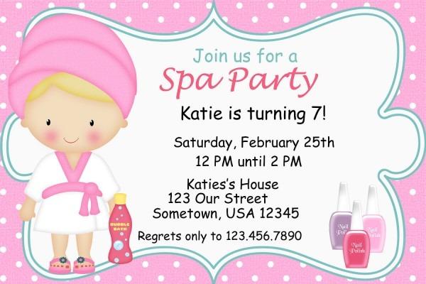 Free Printable Spa Birthday Party Invitations Superb Spa Birthday