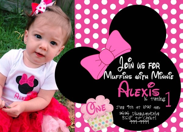 Free Sample Minnie Mouse First Birthday Invitation Templates
