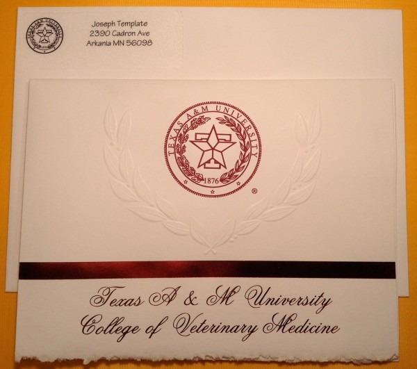 Graduation Announcement Package [texas A&m Cvm]