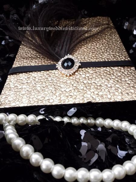 Gatsby Invitation Luxury Pebble Bubble Embellishment Feather
