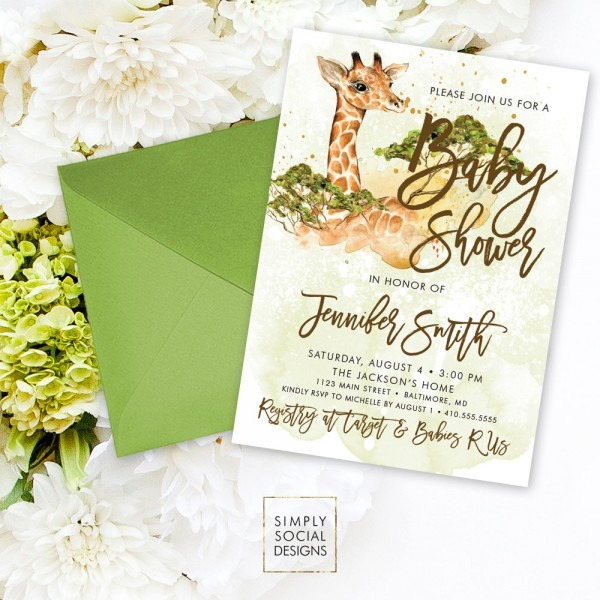 Images Of Baby Shower Invitations With Giraffes Baby Shower