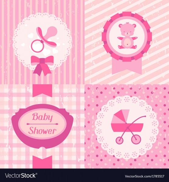 Girl Baby Shower Invitation Cards Royalty Free Vector Image