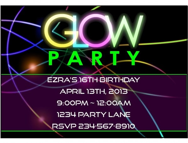 Neon Party Invitations For Stunning Party Invitation Template With