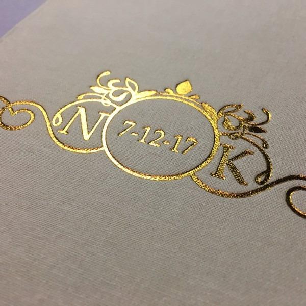 Gold Foil Stamped Monogram & Wedding Date Linen Pocket Fold Invite