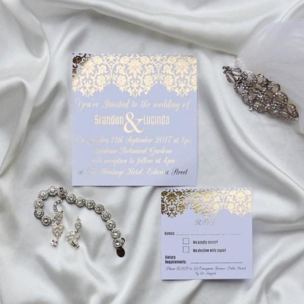Gold Foil Wedding Invitation Set With Rsvp Card   Damask Wedding
