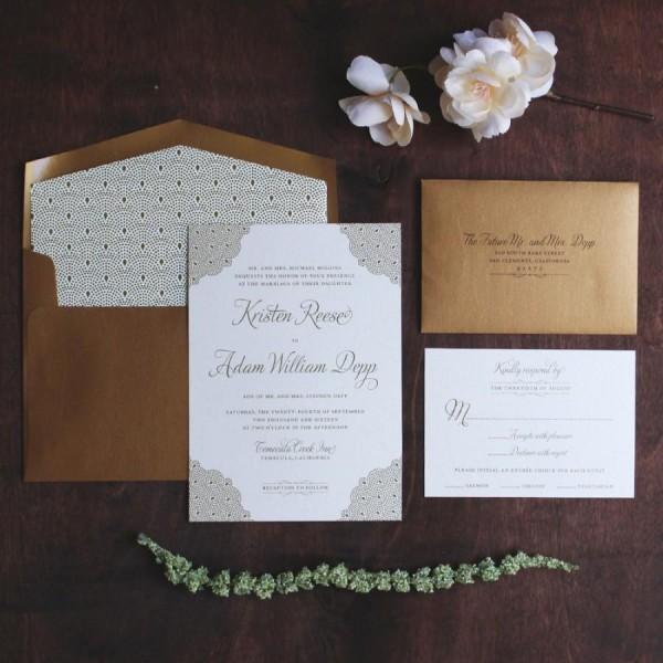 Gold Invitation Suite, Art Deco Invitation, Black Tie Wedding