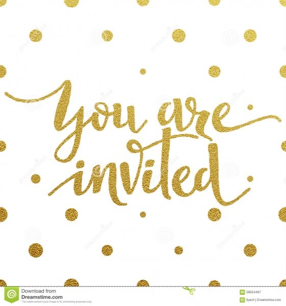 Gold Lettering Design For Card You Are Invited Stock Vector