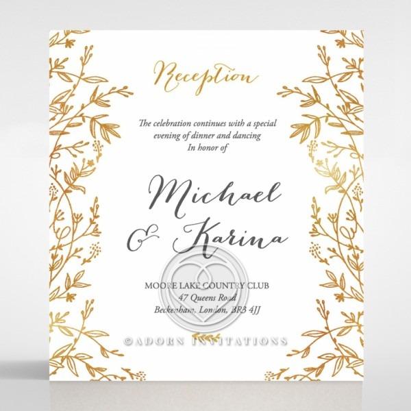 Golden Floral Frame Exquisite Wedding Reception Card Stationery