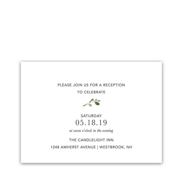 Greenery Wedding Invitation Reception Details Card
