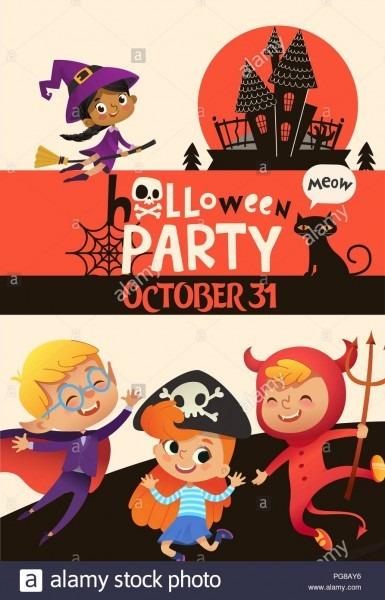 Halloween Party Invitation Template With Adorable Joyful Kids