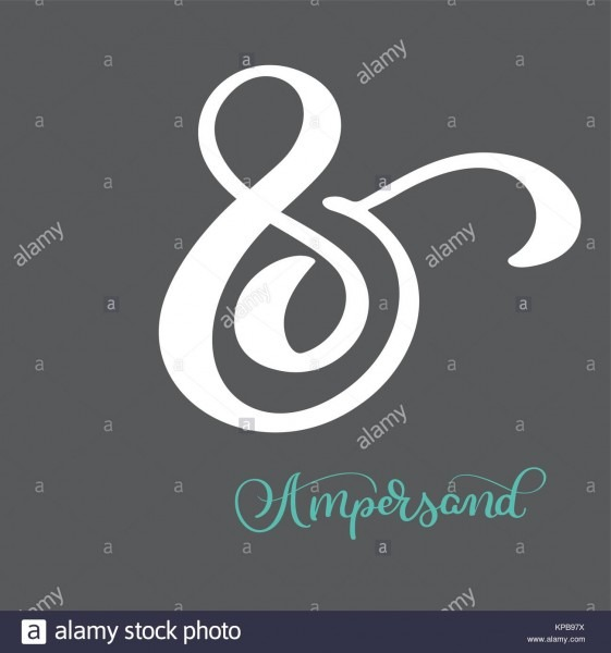 Hand Lettered Flourish Ampersand  Great Vector Design For Wedding