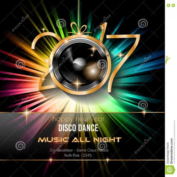 2017 Happy New Year Disco Party Background For Your Flyers Stock