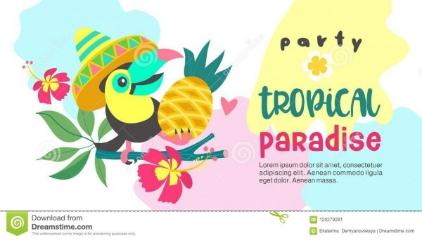 Hello Summer  Party Tropical Paradise  Vector Illustration