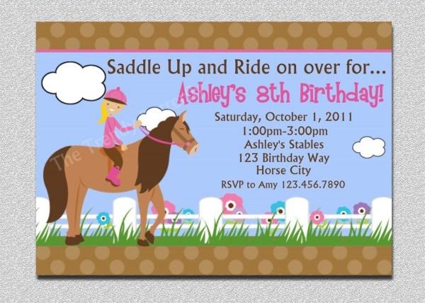 Horse Birthday Party Invitations Horse Birthday Party Invitations
