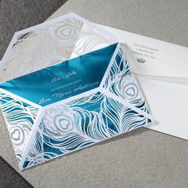 Teal Blue Insert Peacock Laser Cutting Wedding Invitations