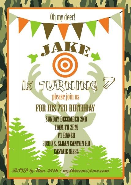 Hunting Birthday Party Invitations Marvelous Deer Hunting Birthday