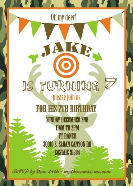 Hunting Party Invitation Hunt Nice Hunting Themed Birthday