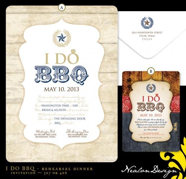 Nealon Design  I Do Bbq — Rehearsal Dinner Invitation