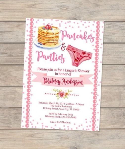 Pancakes And Panties Lingerie Shower Invitation Pancakes &