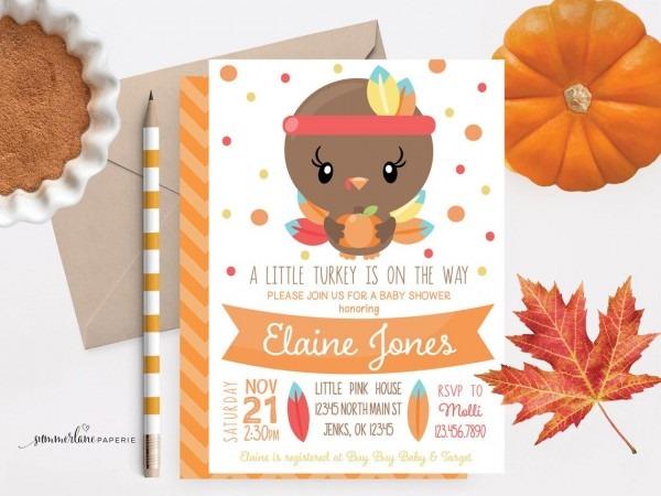 Thanksgiving Baby Shower Invitation Fall Themed Little