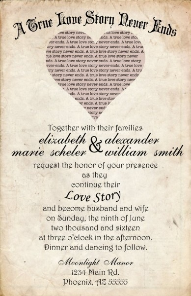 Love Story Wedding Invitation 50 Count