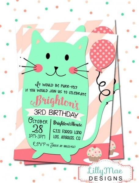 Cat Birthday Party Invitation Kitty Invitation Cat