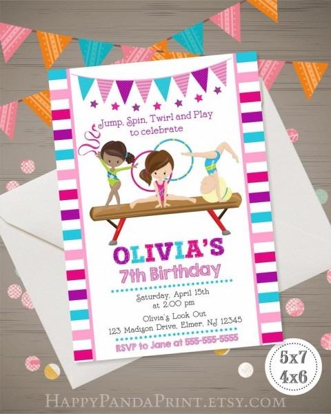Gymnastics Invitation Gymnastics Birthday Invitation