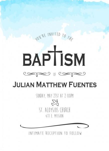 Simple Baptism Invitation Catholic Baptism Invite Baby Boy