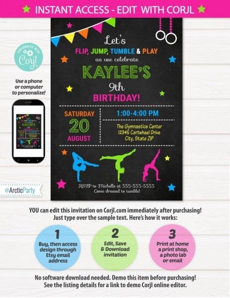 Gymnastic Invitations Gymnastics Birthday Invitation