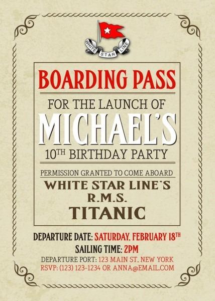 Titanic Boarding Pass Birthday Party Invitations