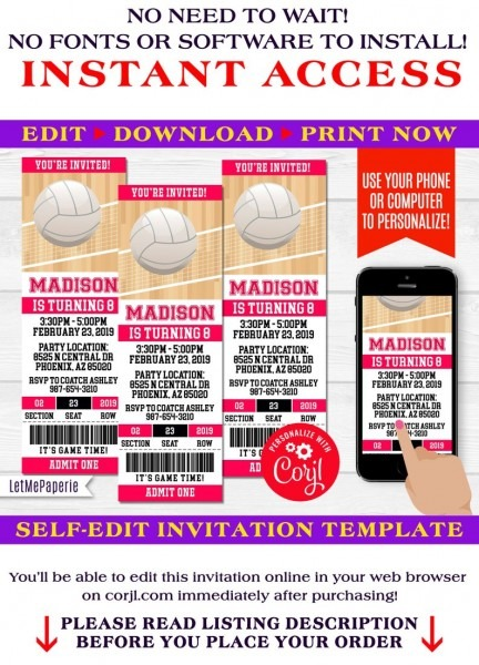 Volleyball Ticket Invitation Template Editable Volleyball