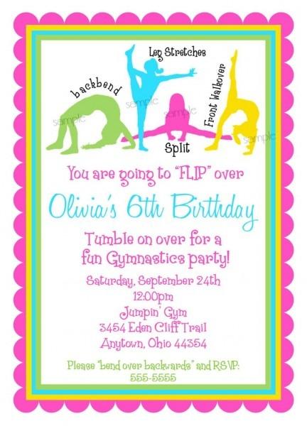 Gymnastics Invitations Gymnastics Birthday Invitations