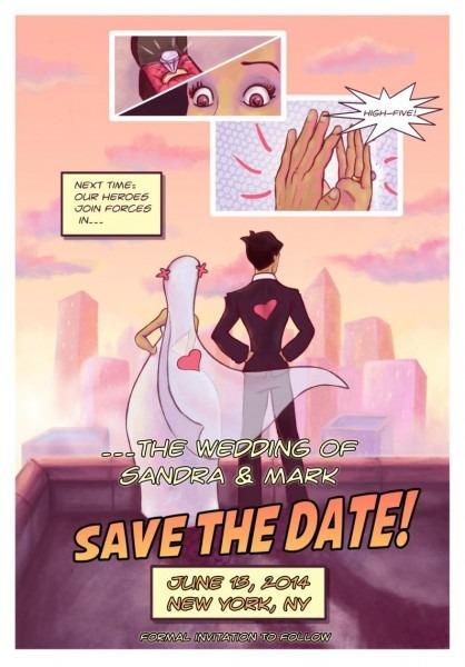Comic Book Save The Date    Geeky Wedding    Digital Invite