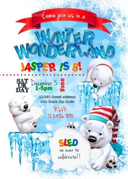 Winter Wonderland Invitation Polar Bear Party Snowball Fight