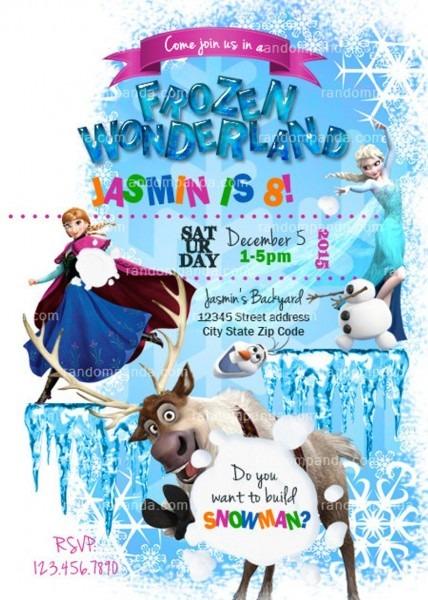 Frozen Winter Wonderland Invitation Olaf Party Elsa Anna