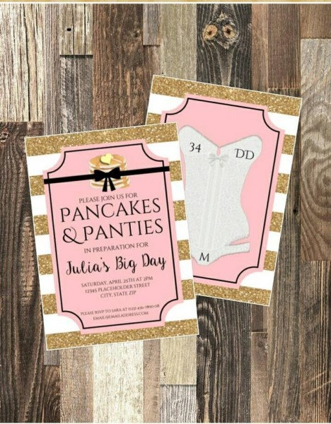 Pancakes And Panties Lingerie Party Bridal Shower Invite